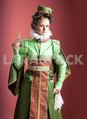 Woman in 16th century style dress