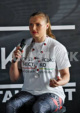 Press conference of the most strong woman of the world Olga Lyaschuk