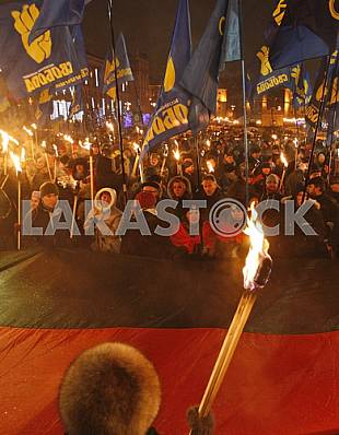 Torchlight procession in honor of the birthday of Stepan Bandera.