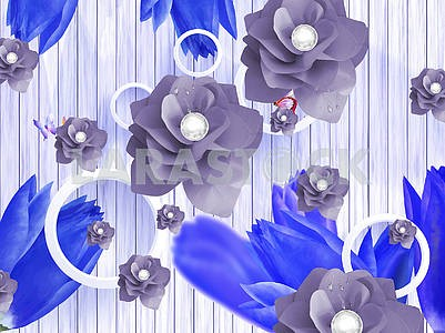 3d illustration, vertical lines, white rings, gray and blue paper flowers with water drops, pearls, butterflies