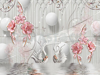 3d illustration, gray background, white balls, two white swans, pink gold-plated flowers on golden stems