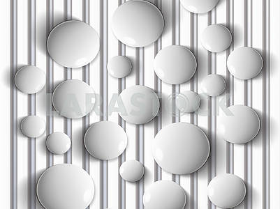 3D illustration, background, gray drops, vertical lines