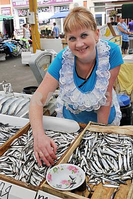 "A woman sells fish in the market ""Privoz"" July 5, 2012"
