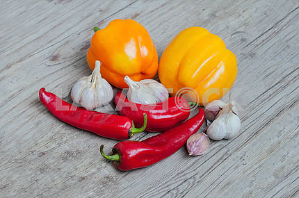 Chili pepper, paprika and garlic