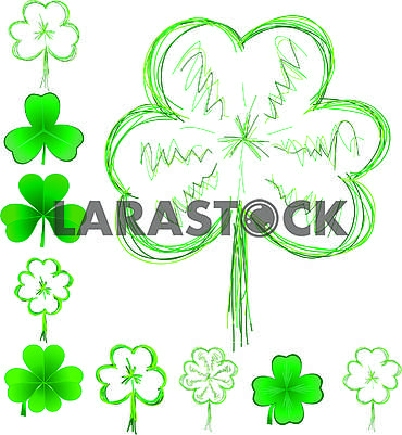 Set of clover leaves for St. Patrick Day, part 1