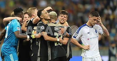Footballers Ajax celebrate victory