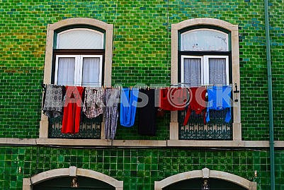 Old Lisbon house with the linen drying