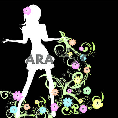 Spring background with slim girl silhouette and flowers swirl