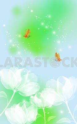 Green-blue background, white fabulous flowers, two orange butterflies