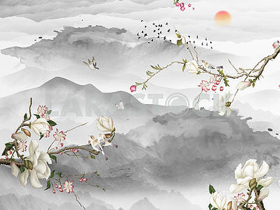 Landscape illustration, gray mountains and hills, sunset, three branches with white and pink flowers, a flock of birds flies away