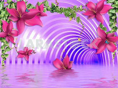 3d illustration, purple background, tunnel, flowers, ivy, reflection in water