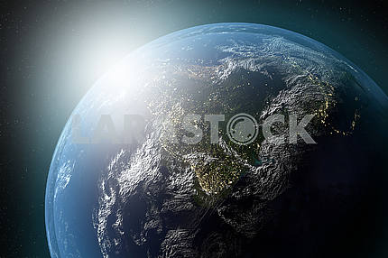 Highly detailed 3D image presents planet of the solar system. Elements of this image furnished by NASA