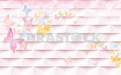 3d illustration - pink tiles and colorful butterflies