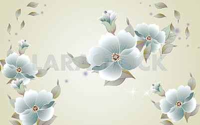 Light background, green fabulous flowers with torn petals
