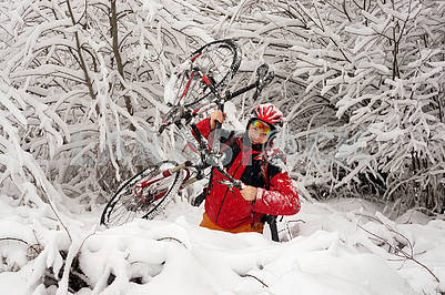 A walk in bicycle  snowfall
