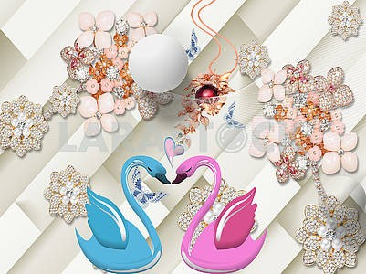 3d illustration, beige background, oblique lines, pink, pearl and orange flowers, red ball, large white ball, pink and blue swans