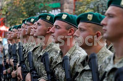 Border guards at the rehearsal of the military parade in Kiev