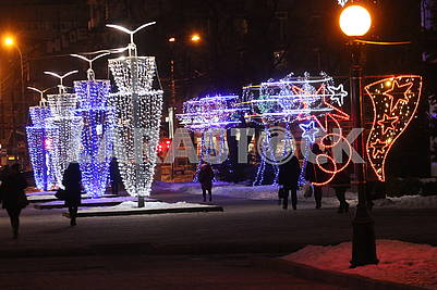 New Year's illumination in Dnipro