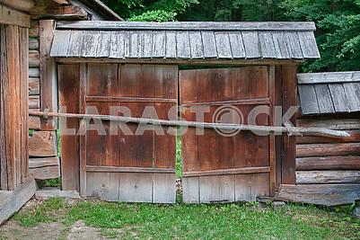 Vintage wooden rural gate. Ukraine