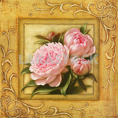Stylized image, picture in a frame, pink peonies