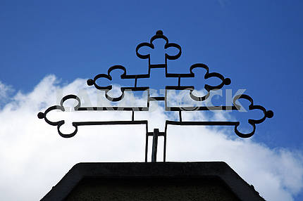 Metal cross in front of the church in  Zagreb,Croatia