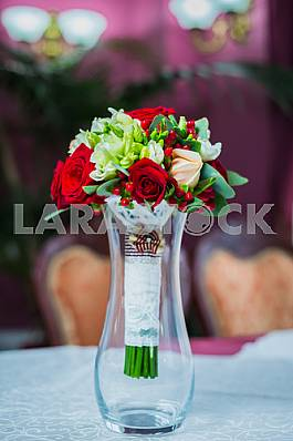 Wedding Bouquet with hands on it, rings
