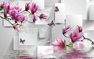 3d illustration, light background, rectangles, butterflies, magnolia