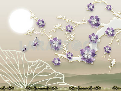 Abstract background, embossed, lilac flowers on the branch, full moon