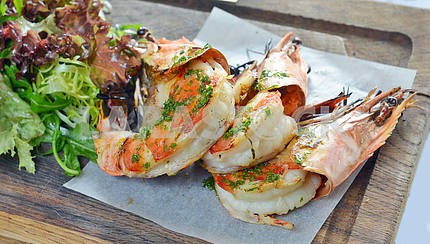 grilled king prawns with salad