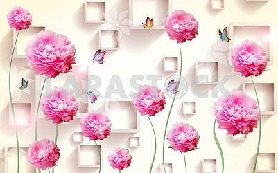3d illustration, beige background, rectangular frames, large pink peonies, flying butterflies