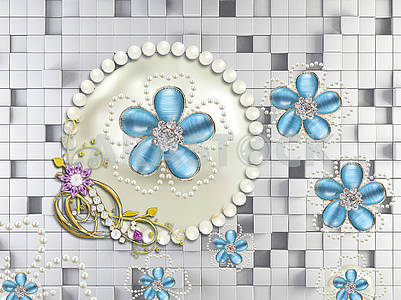 3d illustration, gray background, cubes, blue glass flowers, pearls, golden ornament