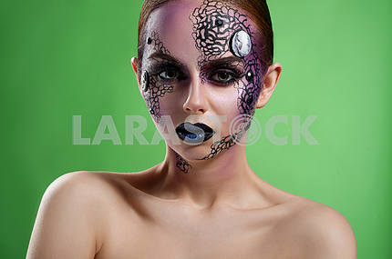 Artistic makeup model studio shots