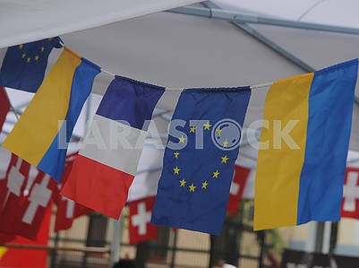 Flags of Ukraine, France and Europe