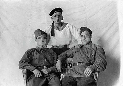 Studio photo of Soviet soldiers