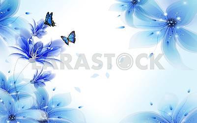 Светлый фон с синими воздушными лилиями и летающими бабочками