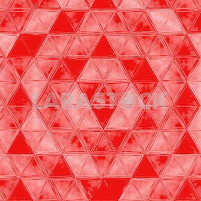 bold plaid pattern with thin diagonal brushstrokes, thin stripes and triangles in bright coral color