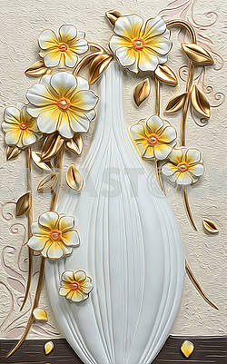 3d illustration, imitation of still life, white vase and golden flowers on a beige background