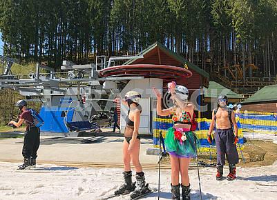 Skiers in Bukovel