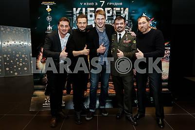 """Vyacheslav Dovzhenko, Makar Tikhomirov, Andrei Isaenko, Cyborg Cyril Nedrya (call sign """"Associate Professor"""") and Viktor Zhdanov"""