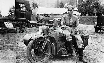 German soldiers with motor cycle