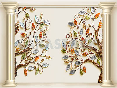 3d illustration, beige background, two columns, two fabulous trees with colorful leaves