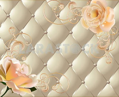 Light background, silk upholstery, ornament and flowers