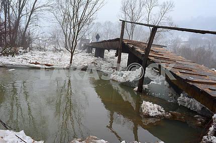 The demolished bridge in Transcarpathia