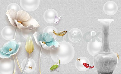 3d illustration, gray background, gray balls, gray marble vase, multi-colored poppies and fish