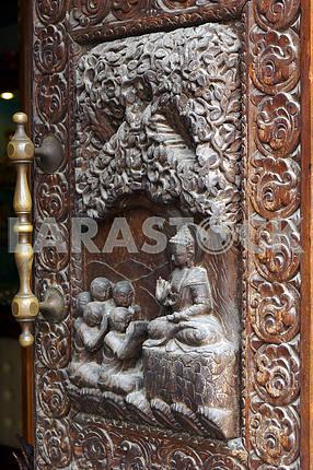 Wooden door. Nepal, Kathmandu
