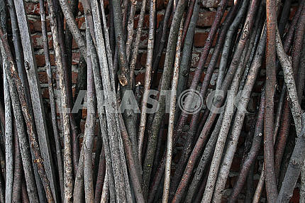Old gray wooden fence round