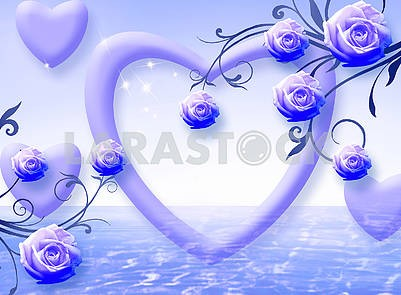Blue background with hearts and ornamental roses
