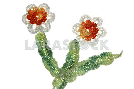 crocheted applique of flowers