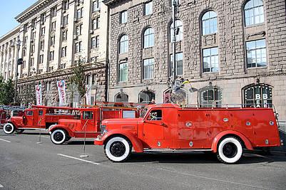 Old fire trucks on Khreshchatyk