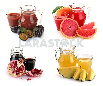 Set  glass and jug of fruits juice